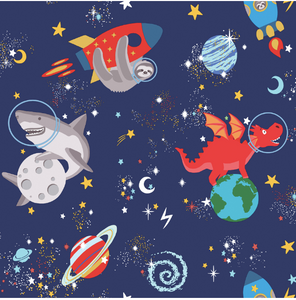 Over The Rainbow Space Animals Navy Glow In The Dark Wallpaper | fancify