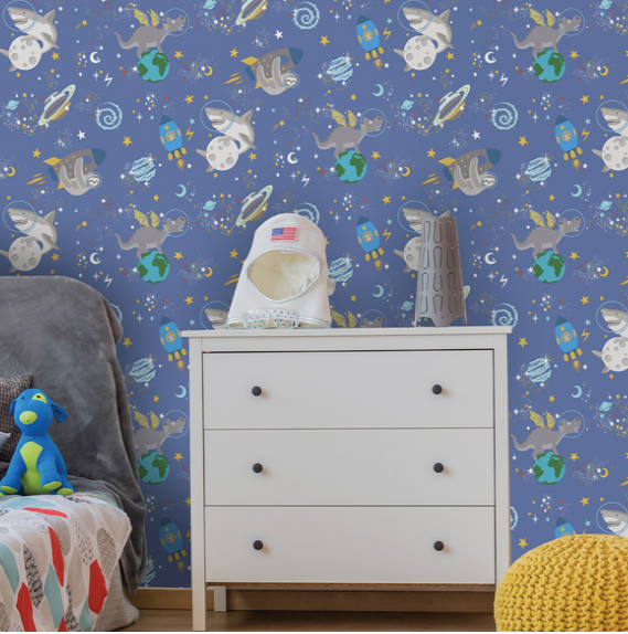 Space Animals Blue Glow In The Dark Wallpaper