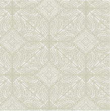 this gorgeous ornate wallpaper with intrinsic design on a soft green background will make an impact to your walls.