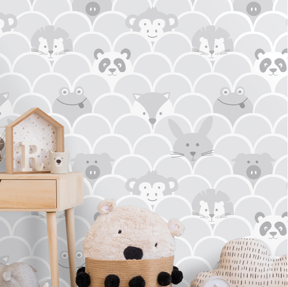 Over The Rainbow Peek a Boo Grey Wallpaper