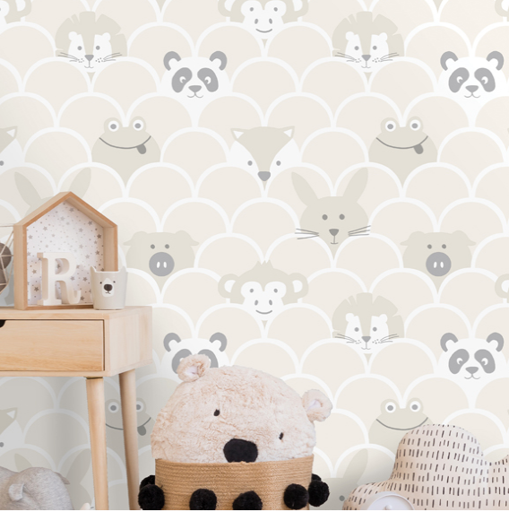 This cute Baby Room Wallpaper design is so lovely for a gender neutral nursery. The Scallop design adds playful shapes with the addition of very cute animal faces peeking through.