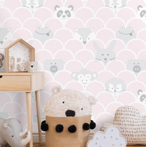 Pink and Grey colours with quirky animals and a scallop design makes this cute baby room wallpaper all the more popular for a little girl's bedroom or baby' nursery. Just too cute.