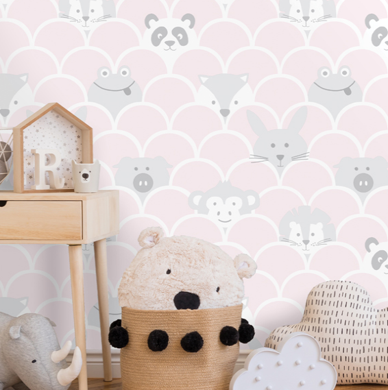Over The Rainbow Peek a Boo Pink Wallpaper