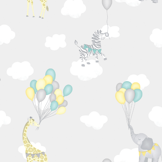 White clouds; cute animals and colourful balloons make up this Animal Balloons Wallpaper. Adding fantasy and fun with wildlife animals.