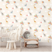 Animal & Balloons Wallpaper- Neutral