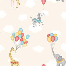 A very dreamy Animal & Balloons Wallpaper design with wild animals flying through the sky with white clouds and colourful balloons.