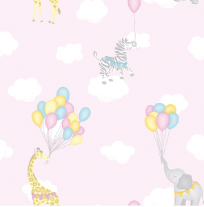 Over the Rainbow Animal Balloons Pink Wallpaper