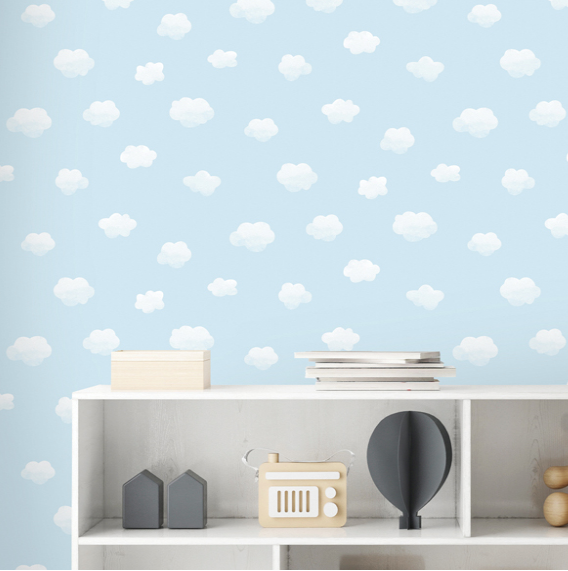 Clouds and sky patterns in a soft patstel blue colour make a perfect addition to any little boy's bedroom in this Cloudy Sky Blue Wallpaper design.