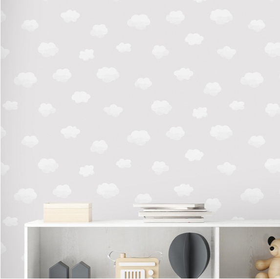 Light grey background with fluffy white clouds makes this Cloudy Sky Grey Wallpaper so enticing and appealing in any child's bedroom or nursery.