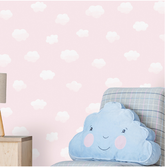 This Cloudy Sky Pink Wallpaper design adds charm and adventure with soft white clouds on a light pink background. Sure to add an feel of sweet dreams to any kid's bedroom walls.