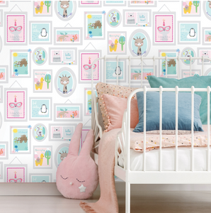 This super cute, fun teal & pink wallpaper has so many elements to it such as frames of funky animals and fun quotes. Ideal for a child's bedroom, childcare centre, or playroom.