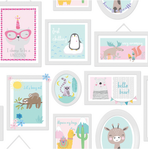 Over the Rainbow Animal Frames Teal & Pink Wallpaper