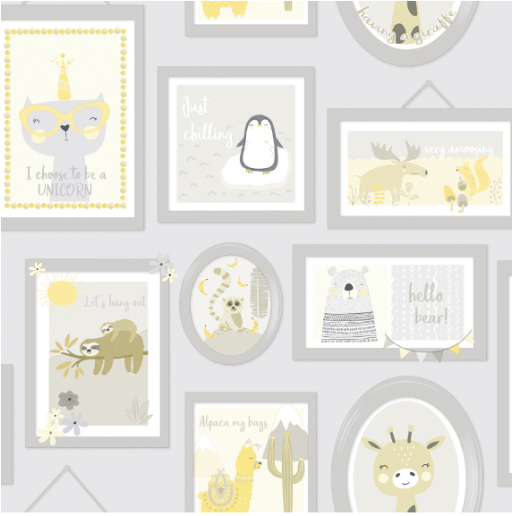 Over the Rainbow Animal Frames Yellow & Grey Wallpaper