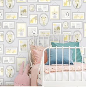 Animal Frames Yellow & Grey Wallpaper