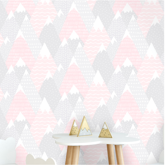 Hills and Terrain covered in snow with so many shapes and patterns like polka dots, triangles, dashes, and waves included in this pink wallpaper. Any little girl could stare at this design for ages.
