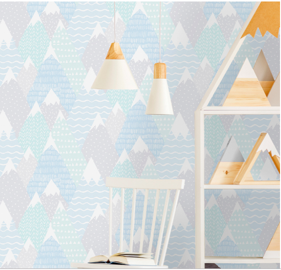 What a fun design for a child's bedroom, nursery, or playroom! Snowy Mountain peaks with so many patterns such as triangles, dashes, dots, and waves! What a fun room.