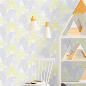 These colours make you feel as if you staring at a wall design full of sunshine! Snow peaked mountains with fun patterns and shapes makes up this sweet yellow wallpaper with the addition of grey tones. Ideal for a nursery, girl's room or playroom.