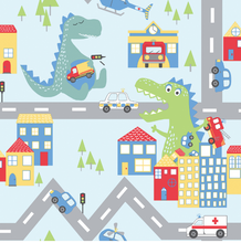 Abstract animals, roads and fire engines spark imagination and fun in this cute wallpaper design for kids.