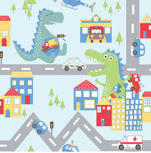 Over The Rainbow Dino Road Blue Multi Wallpaper