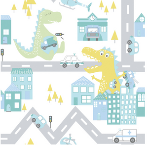 Over The Rainbow Dino Road Teal Lime Wallpaper