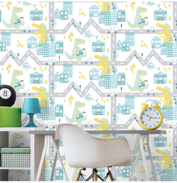 Dino Road Teal Lime Wallpaper