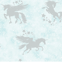 This Shimmery Wallpaper in teal colour with flying unicorns and stars feels like a real fairytale for any child. It will definately add a sparkle and glitter effect to your walls.