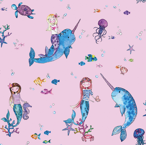 A magical Mermaids Pink Wallpaper is so dreamy and fun with fish, jelly fish, starfish, and bubbles. So many bright colours and loads to look at on your walls.