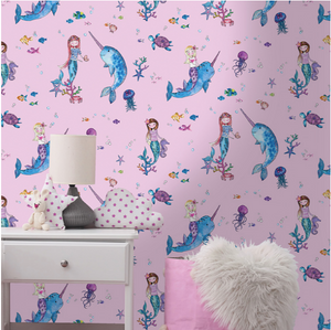 Narwhals and Mermaids Pink Wallpaper