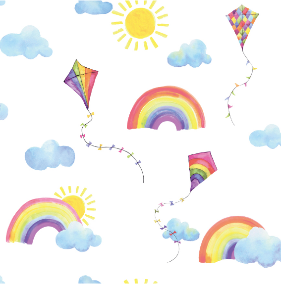This simple yet colourful wallpaper design has all the elements for a fun Nursery Wallpaper Mural. Kites, Sun, clouds and rainbows on a white background make this pattern perfect for any little girl or little boy's bedroom.