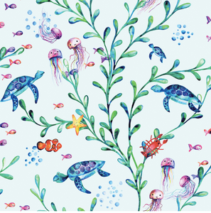 How dreamy is this cute coloured sea wallpaper. A fun look under the sea at all the animals flora floating happily along. Turtles, fish, and bubbles make for a gorgeous nursery wall.