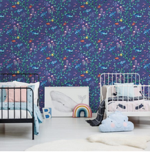 Over The Rainbow Under the Sea Light Navy Wallpaper