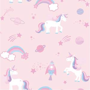 Over The Rainbow Unicorns, rockets and rainbows Pink Wallpaper