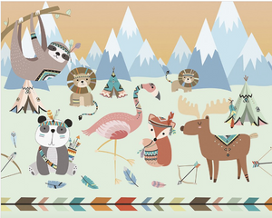 Animal Reservation Woodland Wallpaper Mural - (3.0m x 2.4m/ 3.5m x 2.8m)