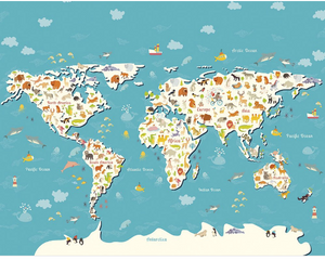Animals of the World Map Wall Mural - (3.0m x 2.4m/ 3.5m x 2.8m)