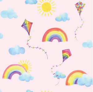 Pink Rainbow Wallpaper can be such fun for any girl's room. Add kites, sun, clouds and kites and you can transform any room.