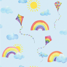 Such fun and cute mural wallpaper designs with kites and clouds and the sun