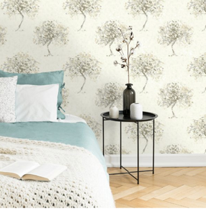 Designer Mural Wallpaper with soft painted trees.