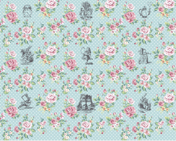 This Eternal Wall Mural design is great for a shabby chic theme with soft roses on a polka dot background with an Alice in Wonderland inspired theme.