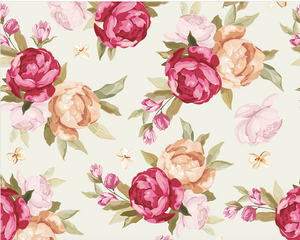 Peonie Floral Wall Mural - (3.0m x 2.4m/ 3.5m x 2.8m)