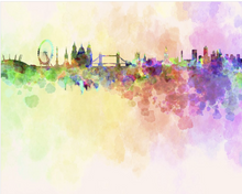 Vibrant Pastel colours have been used to paint the London City Skyline. This London Skyline wallpaper is sure to delight.