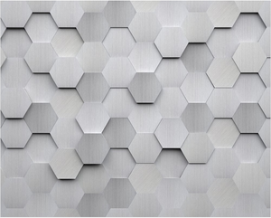 Metal Hexagons Wall Mural - (3.0m x 2.4m/ 3.5m x 2.8m)