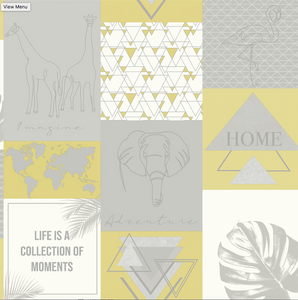 Adventure Utopia Yellow Grey Wallpaper