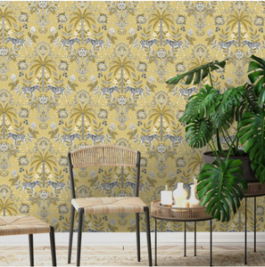 This funky damask pattern on a yellow, brown, orange background with palm trees and a pair of zebra makes for a fun wallpaper.