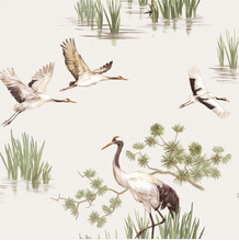 White Background with painted cranes flying and standing. Is serene and gentle in its pattern.