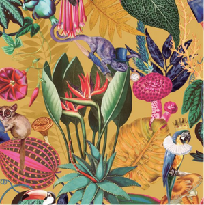 Tropical wallpaper with quirky animals such as parrots, chameleons and bush babies on a ochre background.