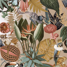Funky tropical design with chameleons, bush babies, and parrots on a gold background. Ideal for kitchens, dining rooms, and bedrooms for a pop of colour.