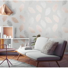 Astonia Feathers Grey Rose Gold Wallpaper