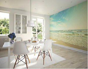 This lovely ocean wallpaper design will make you feel like you are spending a day at the beach just looking at it. Use as a feature wall to set the scene for a perfect summer's day with sunny skies, warm sea and gentles waves eashing onto soft sand.