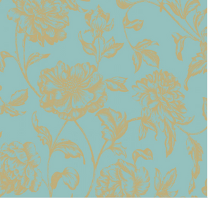Delicate floral design with turquoise background.