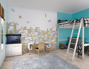 A Brick Movement Wall Mural can be used perfectly as an accent wall with his tetris style patterns and soft colour hues. Great way to add some colour to your walls in a subtle way.